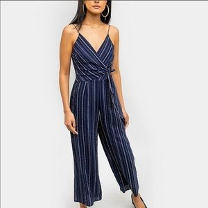 The Fifth Label Striped Wide Leg Wrap Jumpsuit S